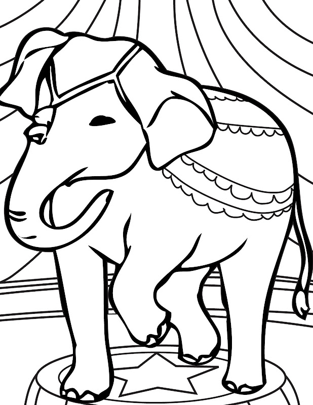 Circus Elephant Coloring Pages title=