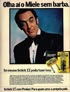 propaganda aparelho de barbear Schick II com Miele - 1979. anos 70. Oswaldo Hernandez. propaganda anos 70. Reclame anos 70
