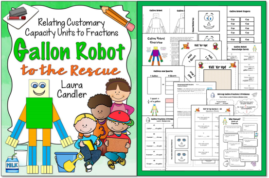 Gallon Robot to the Rescue - a great resource for teaching customary capacity and fraction concepts!