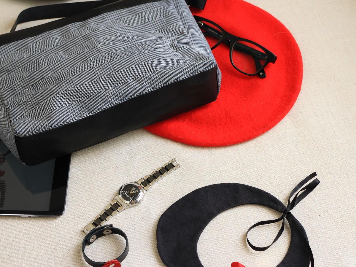Портфель с кожаным дном и клапаном
