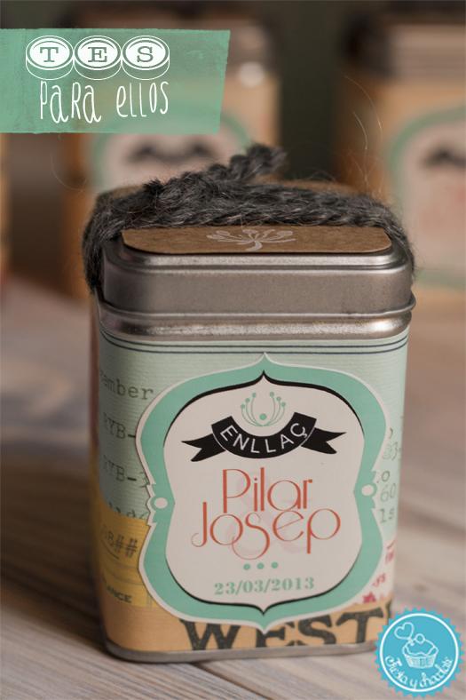 cajita de té personalizada para bodas