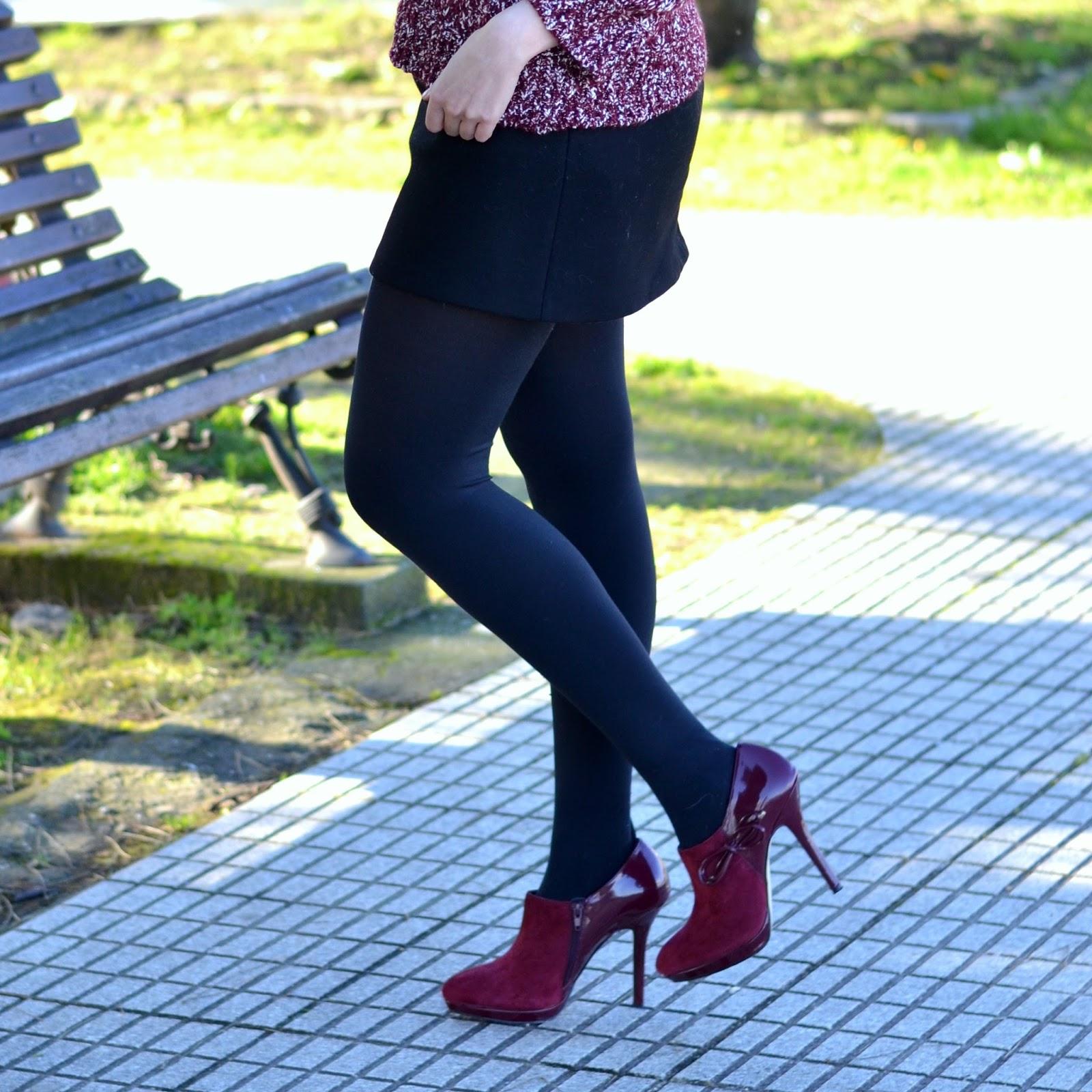botines menbur tacon burgundy zapatos