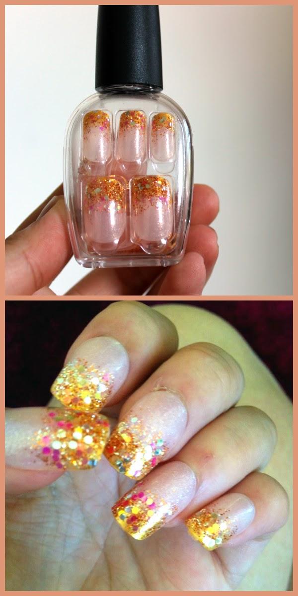 press on nails gold glitter