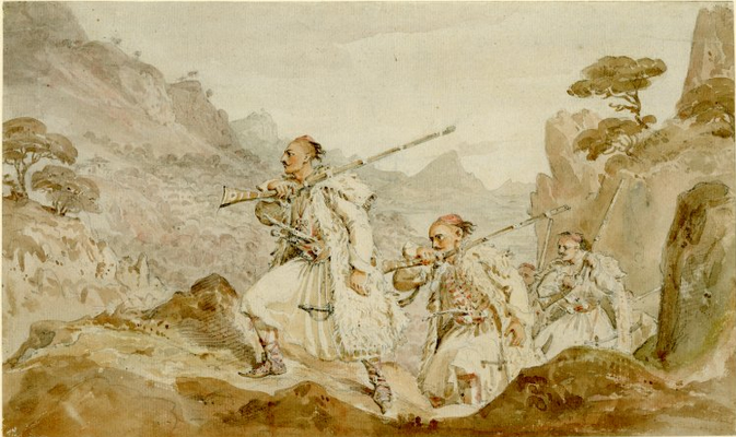 Souliot(Albanians) warriors pursuing the enemy
