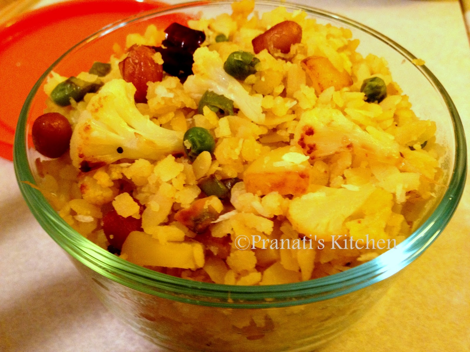 Vegetable poha/ chuda santula