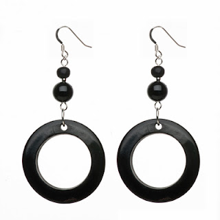 black earrings, hoop earrings, elisha francis, onyx earrings, handmade jewellery