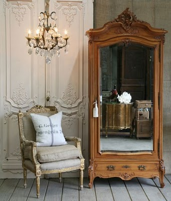 nothing like a gorgeous armoire next to a fabulous french chairlittlefrenchgardenspot - French Decor