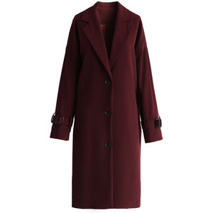The Burgundy Longline Cocoon Coat from Chic Wish