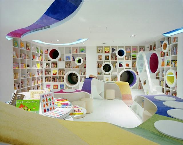 مكتبة الأطفال في الصين مكتبة رائعة بكل ألوان الطيف The-Kid-Republic-4