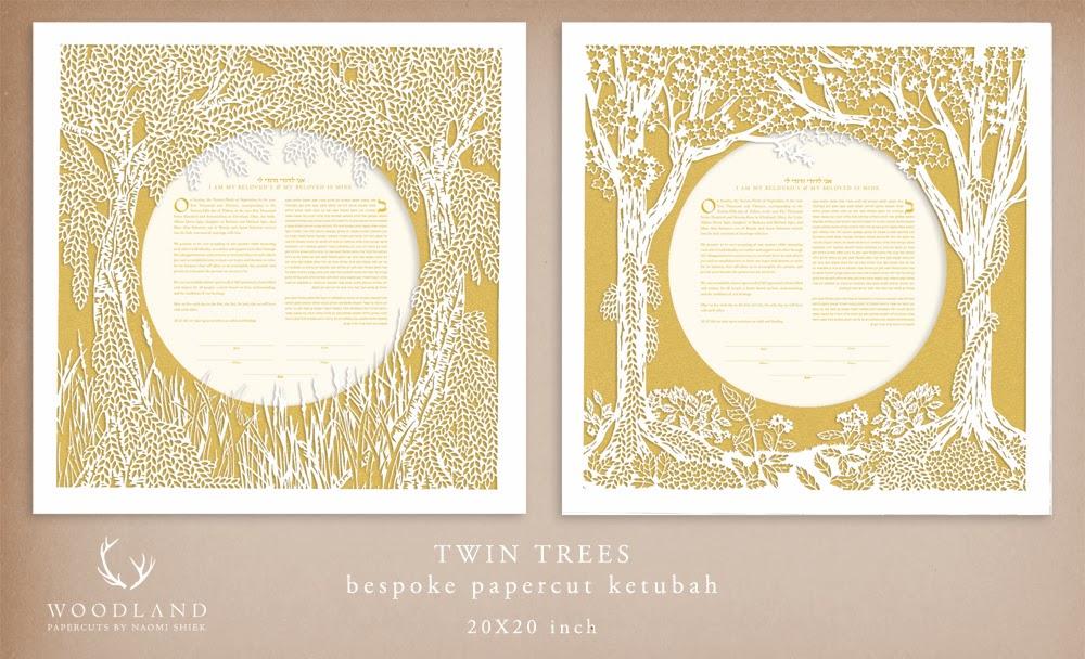 Woodland Papercutsbespoke order Twin Trees ketubah