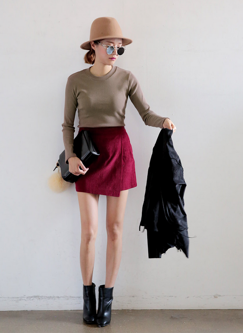 Corduroy Wrap Mini Skirt