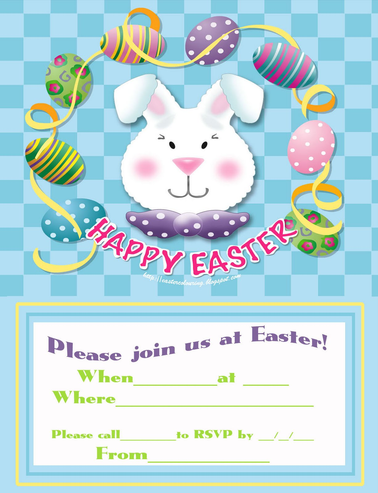 EASTER COLOURING FREE INVITATIONS TO EASTER PARTY TO PRINT