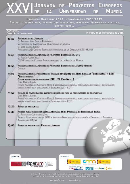 """XXVI Jornada de Proyectos Europeos Operum: """"Horizonte 2020"""": Convocatorias 2016/2017."""