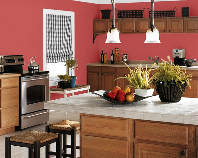 A Kitchen In Enticing Red Sw6600