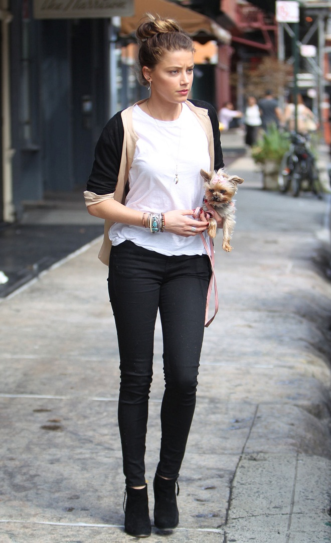 Amber Heard flaunts a chic casual style in New York while ...