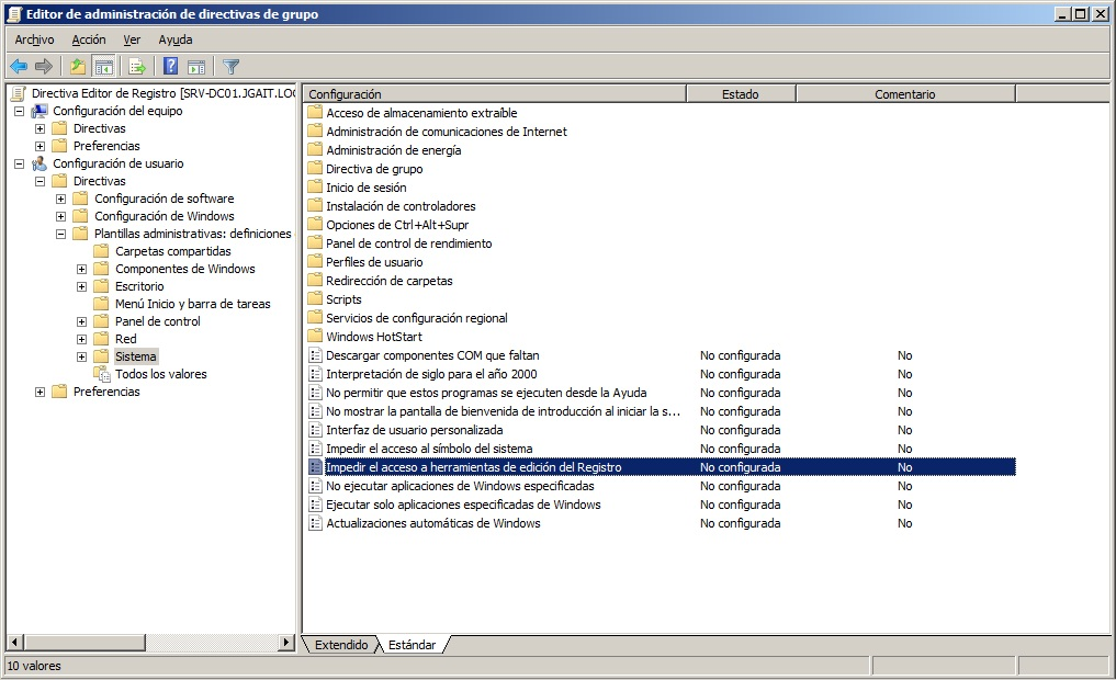 JGAITPro: Impedir el acceso a herramientas de edición del registro ...