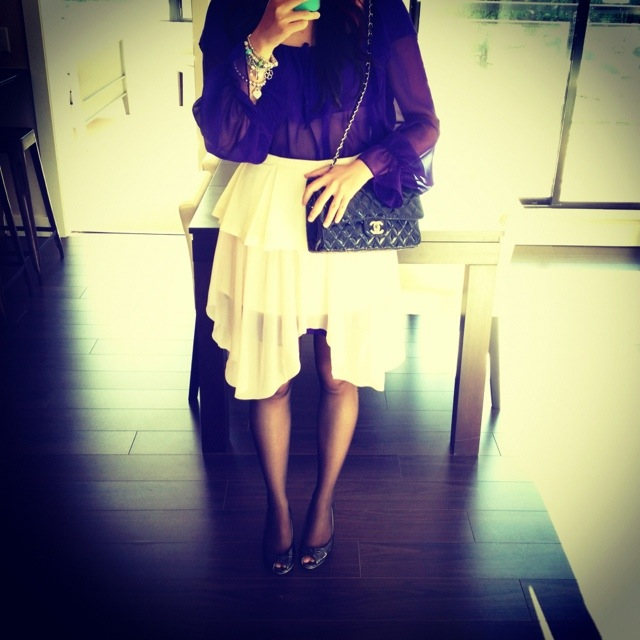 cameo chiffon peplem skirt, vintage purple dress worn as shirt, chanel purse