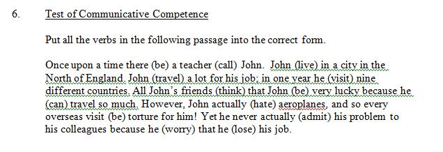 a test on grammatical competence