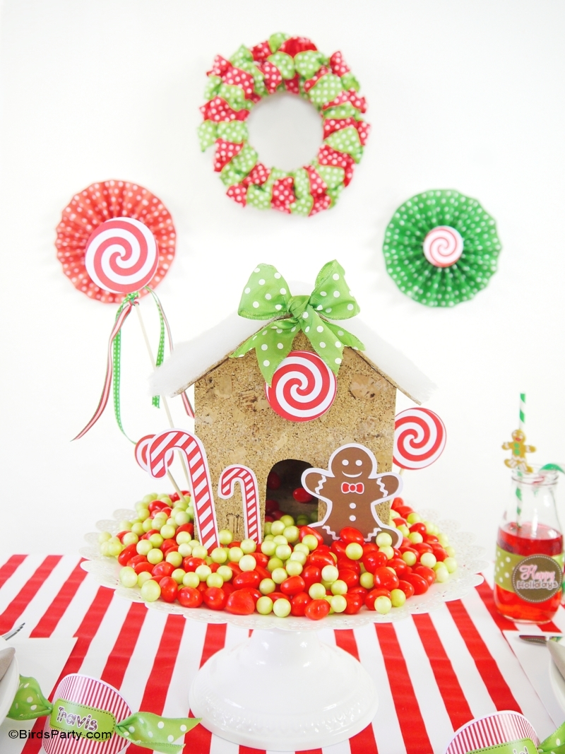 Diy christmas party decorations - Candyland Christmas Diy Tablescape Kids Holiday Table Birdsparty Com