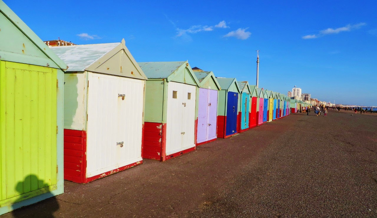 Brighton, Brighton Beach, England, UK, Sussex, Beach huts, colourful, colorful, winter