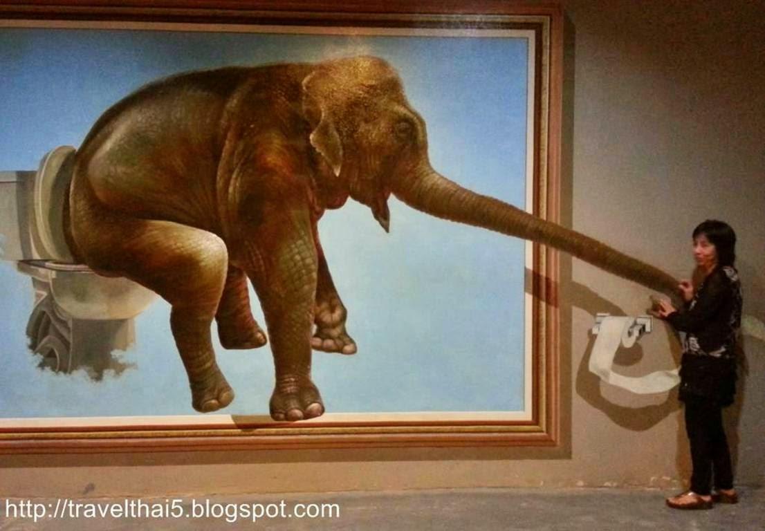 ภาพลวงตา ช้างนั่งชักโครก
