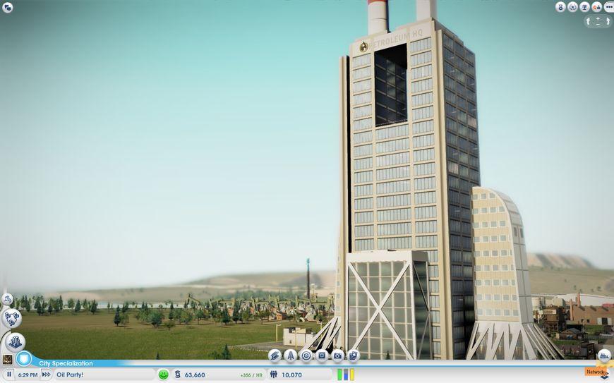 Вид на нефтеперегонный завод нового типа