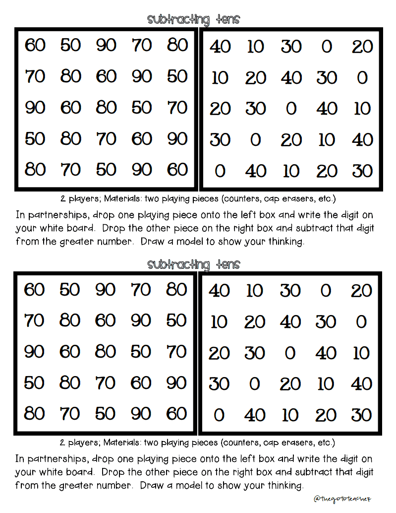 The Go To Teacher: Adding and Subtracting Tens