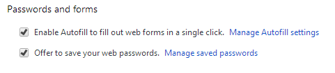 passwords and forms