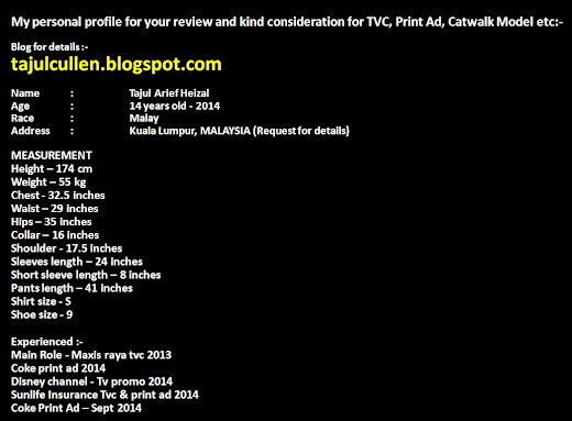 My Details for TVC, Print Ad, Catwalk Model etc