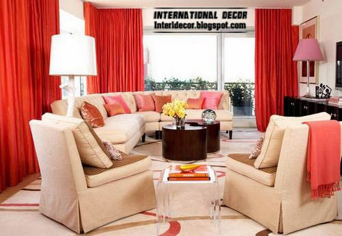 red curtains for interior living room, red window treatments