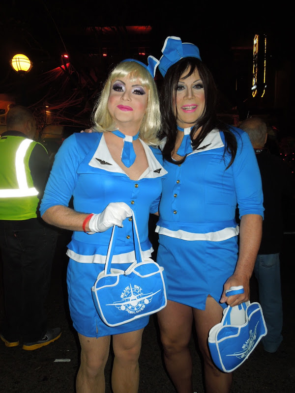 Drag flight attendants WEHO Halloween Carnaval