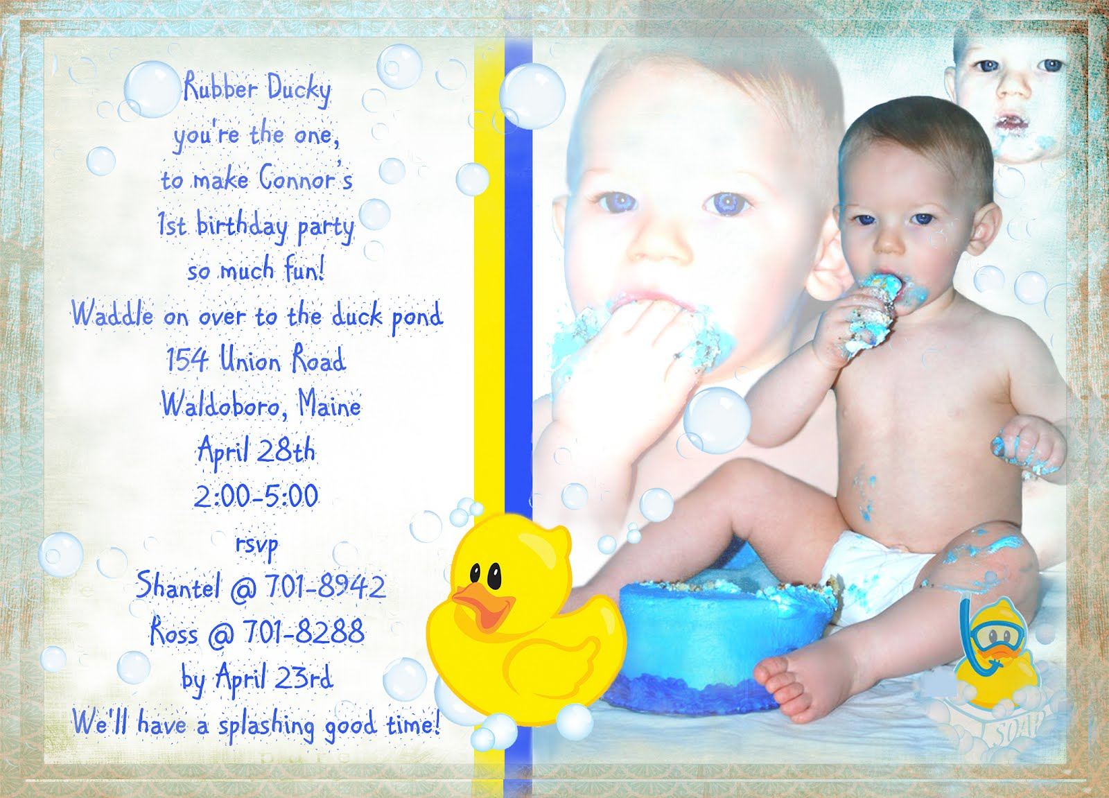 Wednesdays Grace: Rubber Duck Birthday Invitation