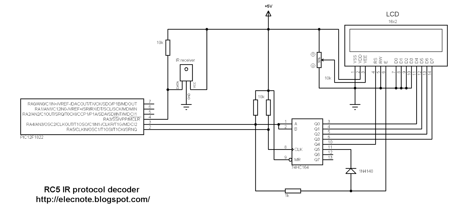 electronics note  rc5 ir remote control protocol decoder