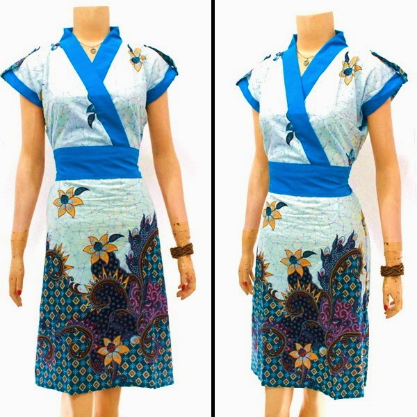 DB3821 Model Baju Dress Batik Modern Terbaru 2014