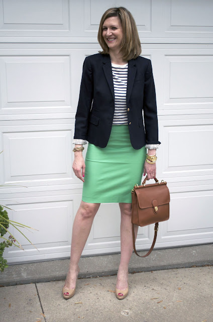 Nautical - J Crew Navy Blazer & Green Skirt