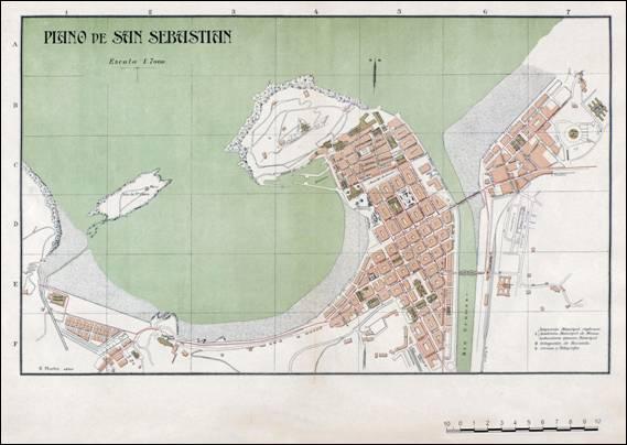 Plano de la ciudad de San Sebastián entre 1910-1915
