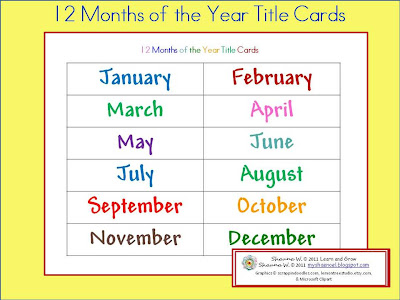 Learn and Grow Designs Website: Ideas for Teaching the Months of ...