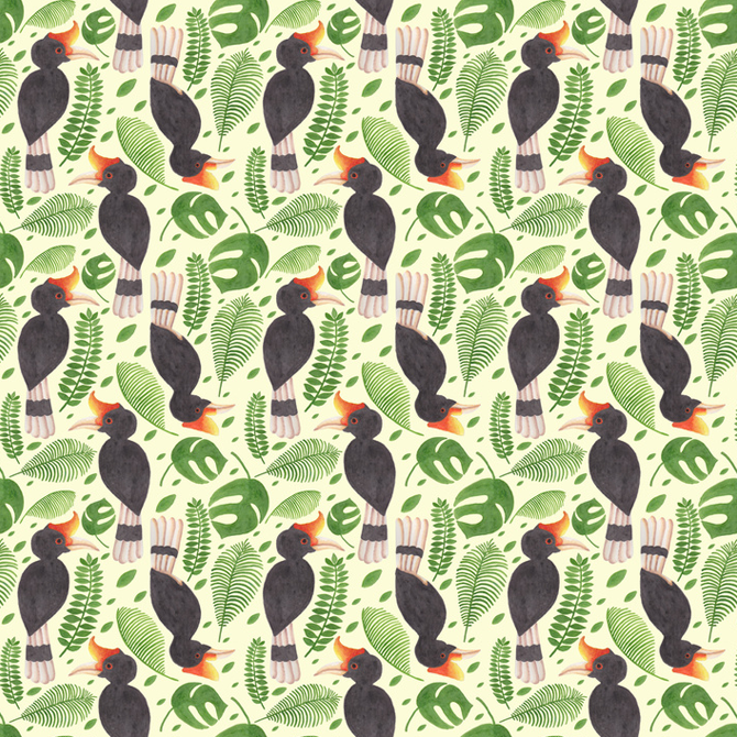 The Tropical Hornbill Pattern Printed on Merchandise Illustration by Haidi Shabrina
