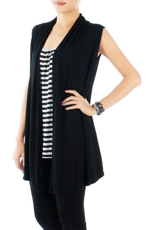 Black Matrix Longline Stripe Top