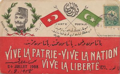 Meşrutiyet'in  İlanı Duyuran Kartpostal