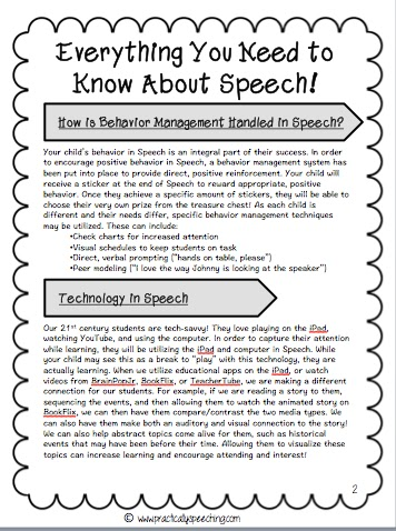 Everything You Need To Know About Speech A Parent HandOut Freebie