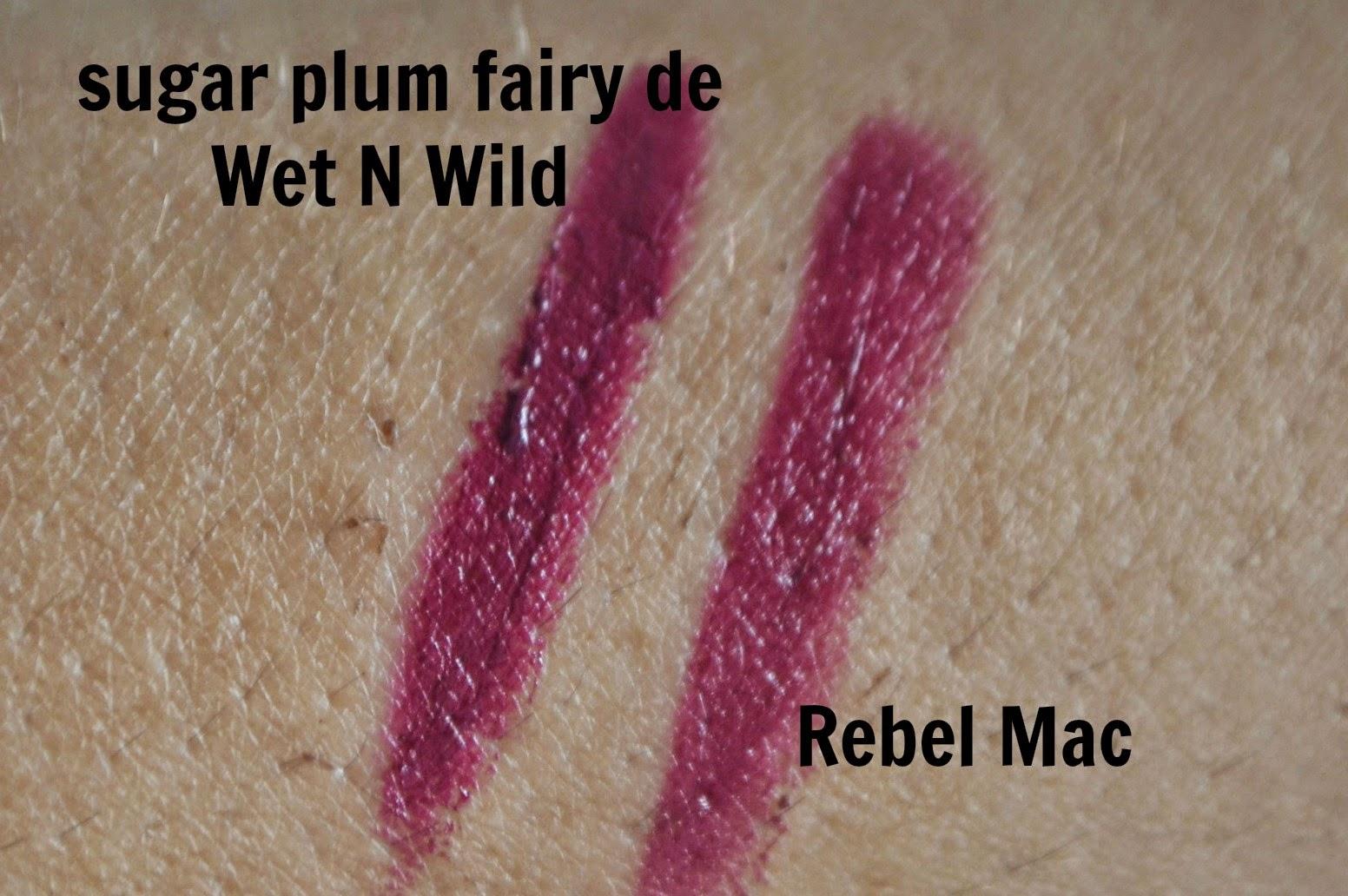 dupe de la semana rebel de mac vs sugar plum fairy de