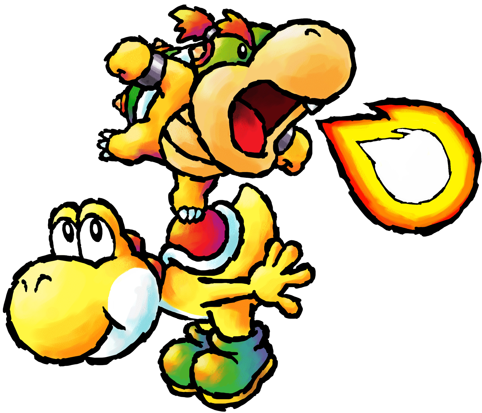 baby bowser yellow yoshi yoshi 27s island DS pngYoshi And Bowser