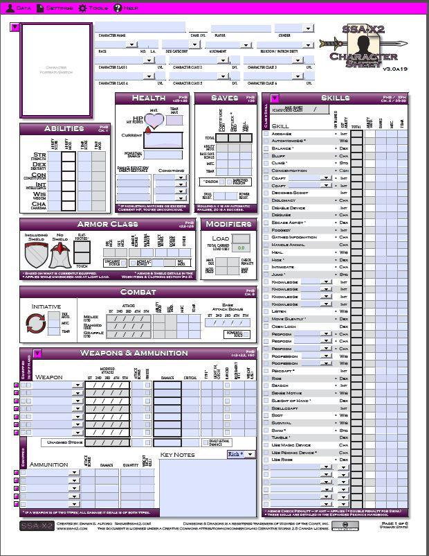 Universal image for pathfinder printable character sheet