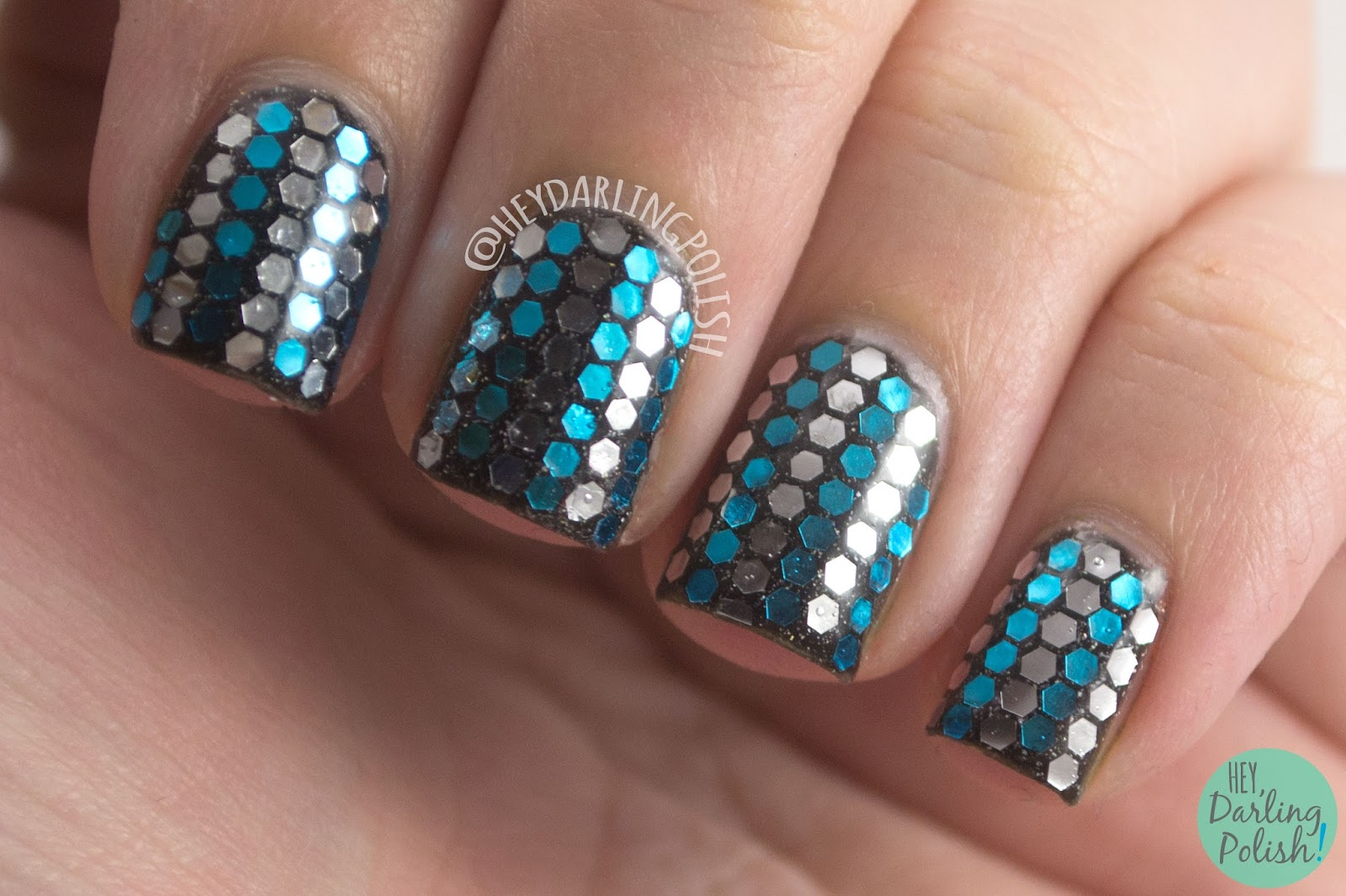 nails, nail art, nail polish, glitter, glitter placement, hey darling polish, blue, silver, black, birthday nails,