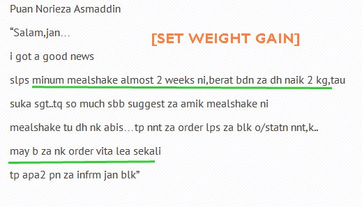 Testimoni Set Weight Gain Shaklee, Naikkan Berat Badan , Set Weight Gain Shaklee