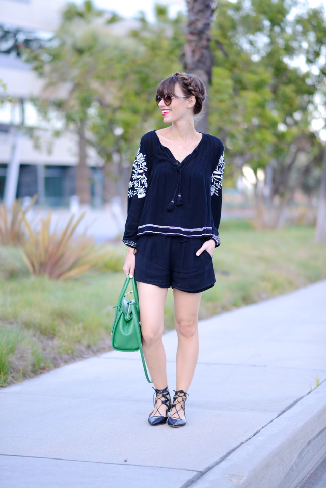 revolve clothing embroidered blouse with black cynthia vincent shorts and aquazzura flats M Loves M @marmar