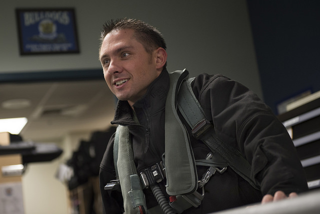 Air Force Capt. Michael Blahut, is a UAA alumnus and an F-22 Raptor pilot assigned to the 525th Fighter Squadron. (U.S. Air Force photo/Justin Connaher)