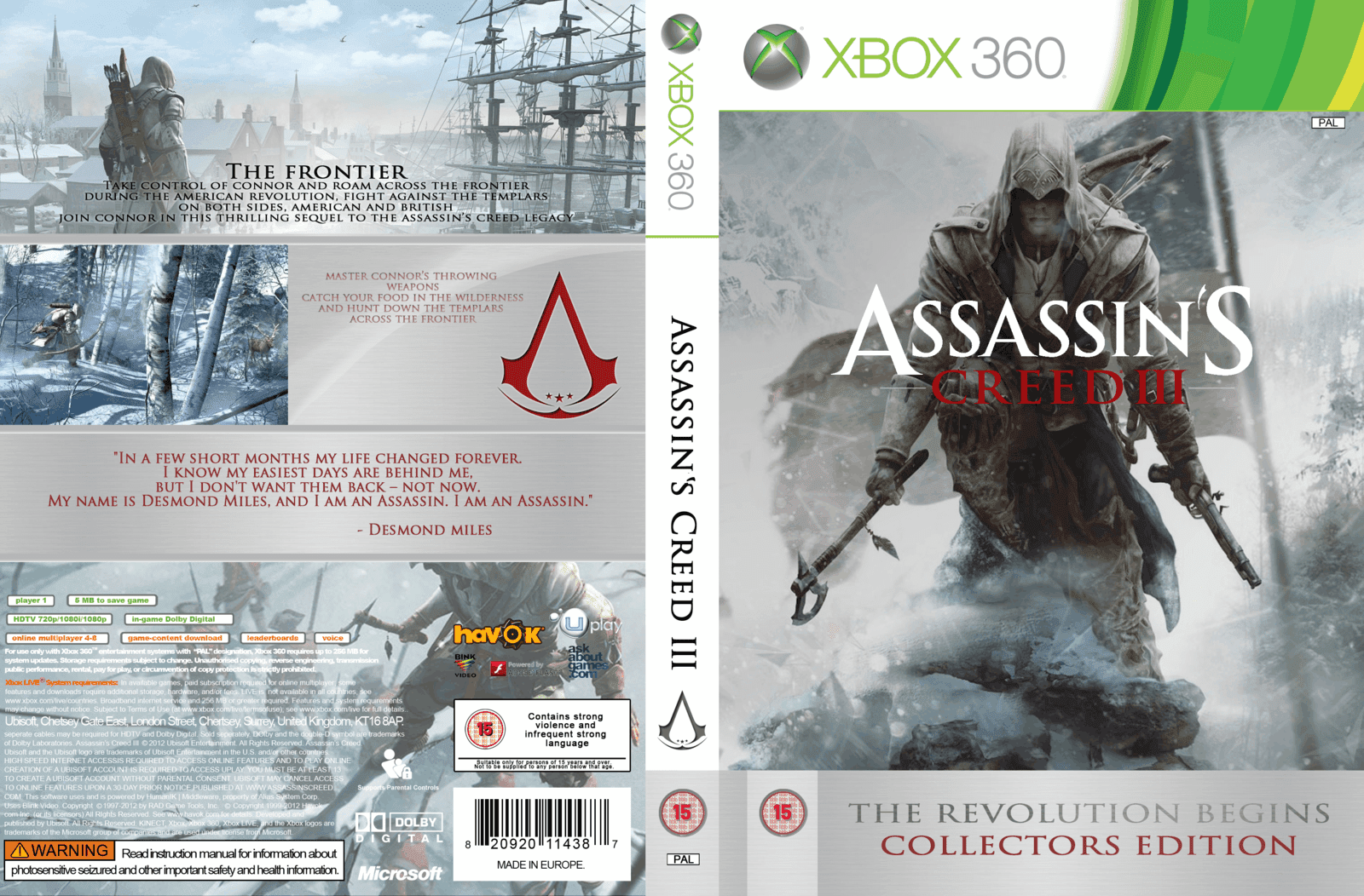 Capa Assassins Creed III Collectors Edition Xbox 360
