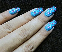 Nail Art with Blue Stones